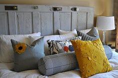 Vintage Door = Headboard + a great collection of pillows Headboard From Old Door, Headboard Door, Pillow Headboard, Pottery Barn Look, Sister Room, Diy Headboards, Headboard Ideas, Window Shutters, Old Doors
