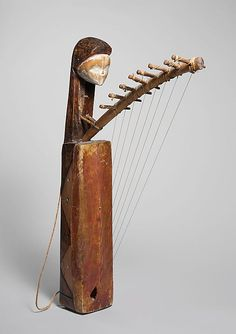 Ngombi (Harp) | mid-20th century | Gabon, Tsogo peoples | Wood, nylon, hide, fiber