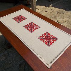 Hand embroidered table runner, hand embroidered table cloth, cross-stitch table…