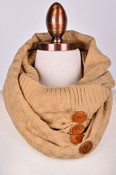 Camel Knit Infinity Scarf