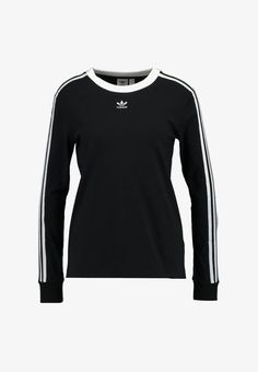 adidas Originals 3 STRIPES - Langærmede T-shirts - black - Zalando. Addidas Shirts, Fashion Wear, Womens Fashion, Travel Fashion, Sport Fashion, Build A Wardrobe, Adidas Outfit, Adidas Originals Mens, Courses