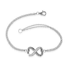 Sterling Silver 7' CZ Heart Infinity Figure 8 Double-Strand Bracelet * New and awesome product awaits you, Read it now  : Jewelry Bracelets