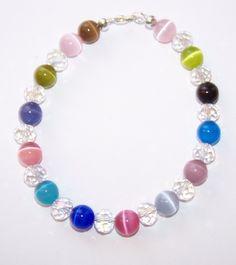 Cat's Eye Beaded Bracelet, Colorful Bracelet, Beaded Bracelet, Crystal Bracelet by JennsScarvesandMore on Etsy