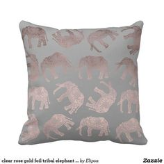 clear rose gold foil tribal elephant pattern throw pillow