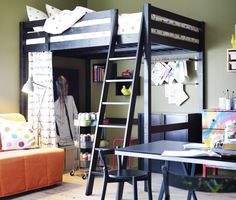 Two Tone White And Brown Wooden Ikea Loft Bed With Ladder Also 6 Column Book Shelf For Small Space Twin Bedroom Furniture Ikea Loft, Ikea Bedroom, Bedroom Furniture, Bedroom Decor, Bed Ikea, Bedroom Ideas, Teen Furniture, Ikea Chair, Chair Bed