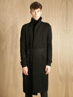 Rick Owens Mens Belted Woven Coat