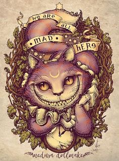 Cheshire cat - Alice aux pays des merveilles - We are all mad here - Tatouage - Moon - Lune - Chat lune - Crazy cat - Alice in Wonderland - Illustration -