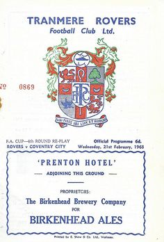 21 February 1968 v Tranmere Rovers FA Cup Round 4 Replay Lost Tranmere Rovers Fc, Coventry City Fc, British Football, Fa Cup, Replay, Football Team, Badges, February, Lost