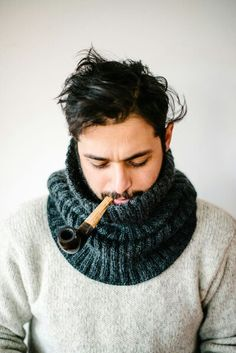 wood pipe. knit scarf. mens wear