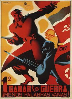 Parilla. First win the war. Fewer idle words! 1937 (Spanish Civil War poster)