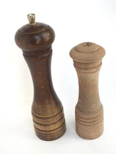 French Vintage Wood Salt and Pepper Shaker  by goodiesoldies