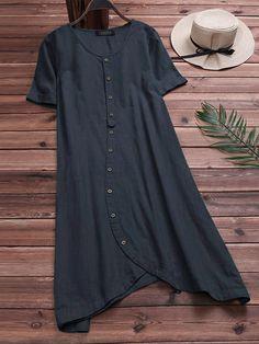 d2f3cb9df S-5XL Casual Women Cotton Loose Short Sleeve Irregular Hem Shirt  Dress40.485 Plus