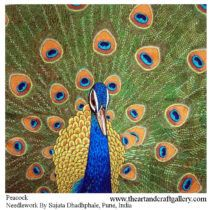 Peacock needlework art  By Sujata Dhadphale  Buy this from The Art and Craft Gallery