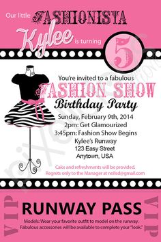 Runway Fashion Show Birthday Invitation Invitations Birthdays