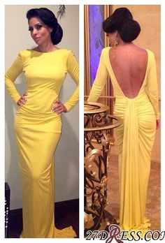 9bfded1a Sheath Long-Sleeve Open-Back Ruched Yellow Evening Dress Item Code: BA3595
