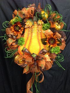 Glitz Pumpkin Mesh Wreath  on Etsy, $105.00