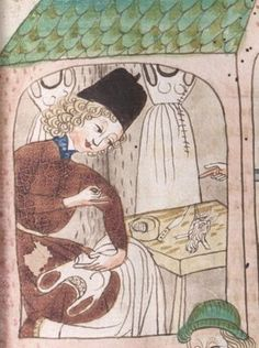 Tailor at workSchachzabelbuch--Cod.poet.et.phil.fol.2.   Konrad van Ammenhausen, Hagenau, 1467, 203r.