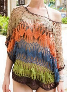 Love these Colors! Sexy  Stylish Scoop Neck Openwork Dolman Sleeve Bikini Cover For Women #Sexy #Beach #Swimsuit #CoverUp #Spring #Break #Fashion #Ideas