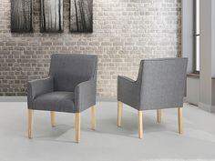 Krzesło do jadalni, kuchni biały lub szary- fotel tapicerowany - ROCKEFELLER Settee, Armchair, Fabric Dining Chairs, Grey Chair, Living Room, Furniture, Sideboard, Home Decor, Sofa Chair