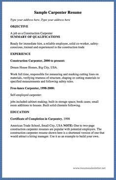 sample carpenter resume type your address here type your address here objective a job as. Resume Example. Resume CV Cover Letter