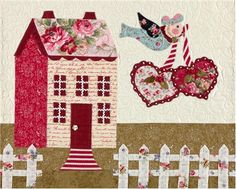 """Sweetheart Houses Block 5 Kit: **Please note, this kit is for Block 5 only.** Block 5 of Sweetheart Houses by Shabby Fabrics. Block finishes to 20"""" x 16"""". Kit includes pattern and all top fabrics."""