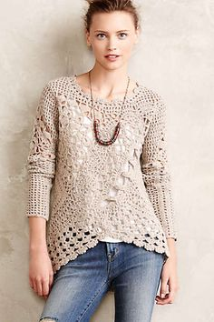Anthropologie - Handknit Posy Pullover