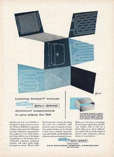Western Roll Bond Ad: Illustration by George Giusti: February 1955, science technology ad