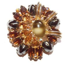 Juliana (DeLizza & Elster Unsigned Goldtone Brooch with Amber and Metallic Stone #Juliana