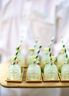 Patron Margaritas Mini patron bottles wedding dinner party outdoor Hotel Jerome Aspen Colorado Tequila Alcohol Salt and Lime