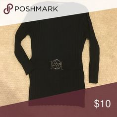Top Sweater black scoop neck line in front with a belted accent Adrienne Vittadini Sweaters Crew & Scoop Necks