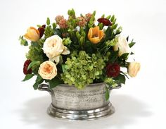 3315B# - Mixed Floral of Roses, Hydrangea and Tulips in Pewter Newport Planter - Distinctive Designs