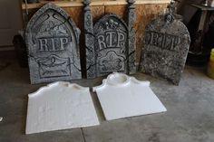 Tutorial for Foam DIY Tombstones + how to make glue gun spider webs!