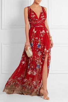 Roberto Cavalli Floral-print plissé silk-georgette gown NET-A-PORTER.COM
