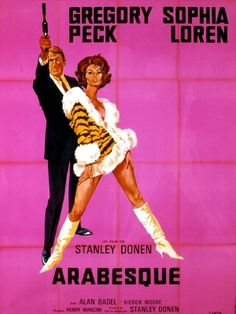 Arabesque Gregory Peck Sophia Loren, 1966 - original vintage movie poster for the French release of the film, starring Gregory Peck and Sophia Loren, listed on AntikBar.co.uk