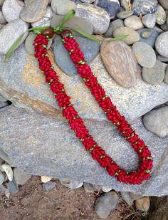 Hawaiian Red Pikake Ribbon Lei by BusyBeeStudio2014 on Etsy