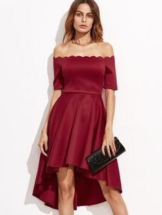 Burgundy Scallop Off The Shoulder High Low Skater Dress - Zooomberg