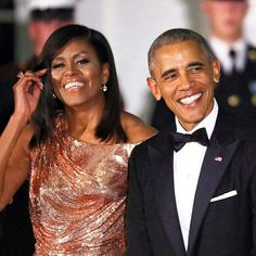 Michelle x Barack Obama. Relationship goals. Black Love. Smiles. Flawless. Hair laid. Rose gold. Skin. Style crush.