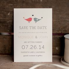 Save the Date postcard with Lovebirds  simple by starboardpress, $3.30