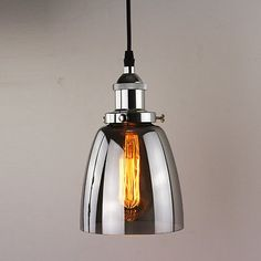 Industrial Vintage Retro Chrome Fitting Smoke Shade Edison Glass Light Ceiling for sale Ceiling Rose, Ceiling Lights, Main Colors, Vintage Industrial, Light Bulb, Retro Vintage, Chrome, Shades, Lighting