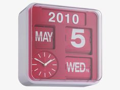 Classic, small analogue flap clock updated with a red face, displaying the clock, year, month, date, day of the week and AM/PM.