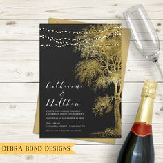 Engagement invitation, wedding invitation, string lights, fairy lights, gold tree, chalkboard background, digital customised printable