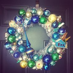 Blue green gold tear drop putz house vintage Christmas ornament wreath tree topper 16 inches packed full of holiday cheerindent stencil