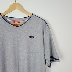 1ae0f71a2a0e4 Slazenger grey tee Great condition t-shirt in grey with on - Depop Grey Tee