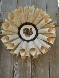 French Paper Wreath  Thanksgiving Turkey by thepickwickpapers, $40.00