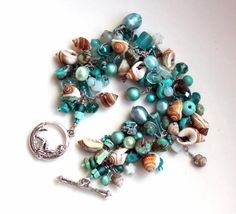 nautical poem / teal turquoise and seashell beaded bracelet / handmade beachy shell jewelry by uniquenecks on Etsy, $52.00