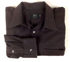 IKE-BEHAR-Shirt-MENS-17-34-New-York-BROWN-Button-Up-COTTON-Long-Sleeve-DRESS