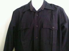 Flying Cross Men's Medium 151/2 - 34  Jet Black Cotton Blend  Button Front Shirt #FlyingCross #ButtonFront
