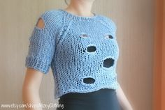 Mermaid Blue Cropped Hole Knit Sweater / Raglan by AlizeyClothing, $80.00