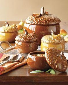 Autumn Equinox: Acorn tureens for the Deco Table, Fall Harvest, Autumn Home, Fall Trends, Happy Fall, Acorn, Fall Halloween, Dinnerware, Thanksgiving