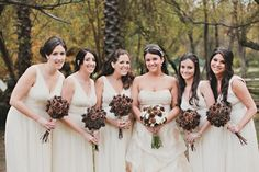 Pine cone and branch bridal bouquets   DIY Rustic Woodland Wedding Flowers   Green Bride Guide